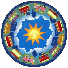 "A circle shaped ""In Training"" train nursery rug."