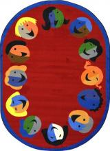 An oval shaped red kids carpet for the classroom.