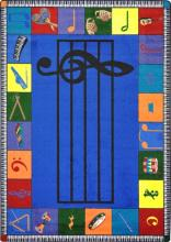 A blue rectangle shaped music classroom rug.