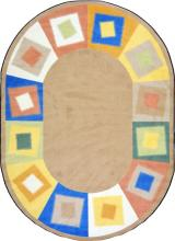 The carpet for kids is shown in oval beige.