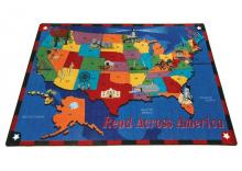 A side view of the map of the United States printed on a kids rug. The rug makes learning fun for kids and teachers alike.