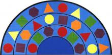 A half circle shaped kids carpet rug with shapes for a classroom is displayed.