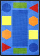 A rectangle shaped kids carpet rugwith shapes for a classroom is displayed.