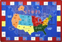 A rectangle shaped United States Map childrens rug for a classroom is displayed.