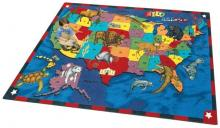 A rectangular United States rugs for kids is displayed.