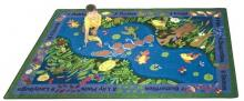 A rectangular kids area rug is displayed for a classroom.