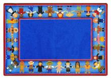 A rectangular blue rug for children is displayed.