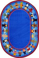 A blue oval rug for children is displayed.