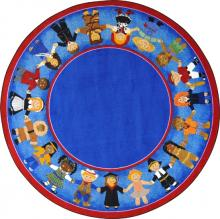 A blue circle rug for children is displayed.