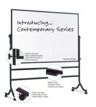 This mobile dry erase melamine whiteboard sits on casters to move easily around a classroom. It is double sided and swivels 360 degrees and locks into place,