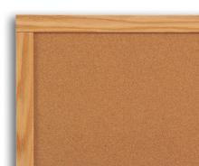 The combination cork dry erase board is shown in a wooden frame.