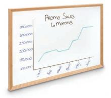 This wood framed melamine dry erase whiteboard ranges in size from small to large and is wall mounted or portable, as you prefer.
